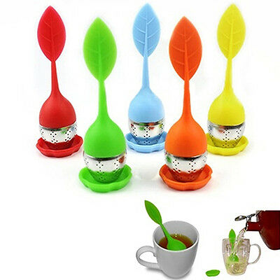 Cute Silicone Stainless Steel Leaf Tea Strainer Teaspoon Infuser Spice Filter