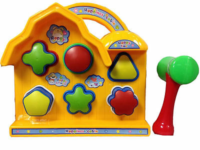 New Kids Pop Up House Shape Sorter Toddlers Toy With Hammer Learn & Fun Toys