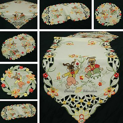 Easter Doily Table runner Tablecloth Linen-look Ivory/Cream Daffodil Embroidery