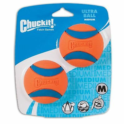 Chuckit Medium Ultra Ball Tough Dog Puppy Rubber Bounce Floating Toy - 2 PACK
