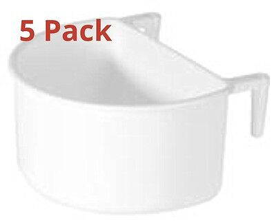 5 x PLASTIC D FEEDER CUPS LARGE 7.5CM HOOKS ON REAR FOR CAGE/MESH BIRDS/POULTRY