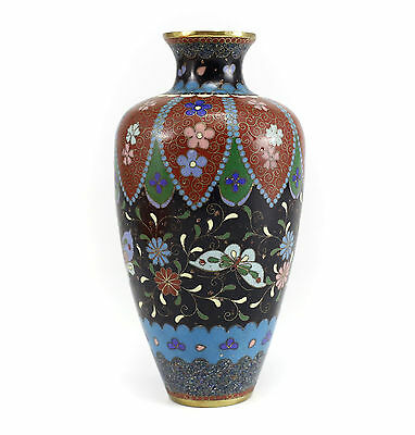 Japanese Cloisonne Vase Butterfly, Floral, Foliate Design w/ Gold Stone Accents