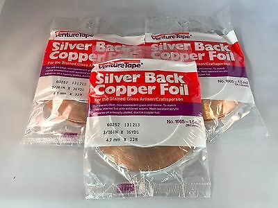 """NEW ITEM - 3 Rolls SILVER BACK Stained Glass Copper Foil - 3/16"""" (Venture Tape)"""