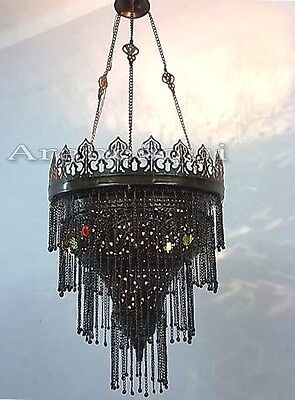 BR197 Unique Antique Style Jeweled Pendant Lampshade Chandelier