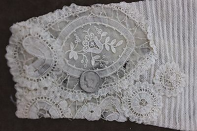 Antique French Handmade Victorian Lace & Tiny Pleated Sleeves c1890-1900~Dolls