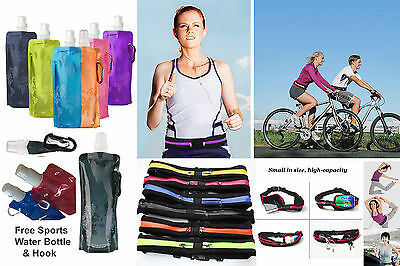 Gym Belt & Reusable Sports Water Bottle Running Cycling Pocket Mobile Money Keys