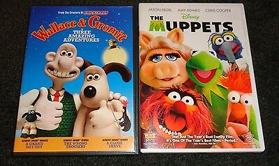 WALLACE & GROMIT IN 3 AMAZING ADVENTURES & THE MUPPETS-2 movies-Family fun
