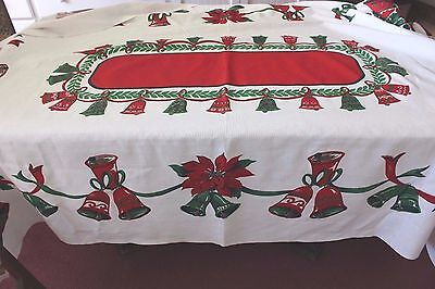 "Old Vintage Linen Christmas Bells & Bows Tablecloth~81""L X 60""W"