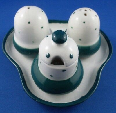 Vintage JAPANESE Unique ACORN Porcelain CONDIMENTS SET Collectable - Australia