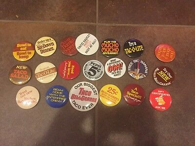 Vintage TACO BELL 1980's Advertising Pinback Button Collection 20 Total!!