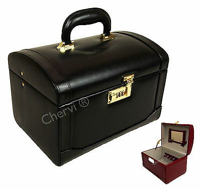 High Quality Genuine Leather Vanity Jewellery Make-Up Art Toiletries Box Case