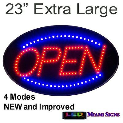 "LED Open Sign Neon Letrero Extra Large 23"" 4 Switches New Improved LED Open Sign"