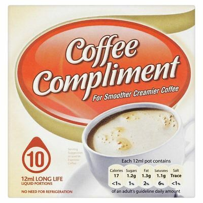 Compliment LongLife Mini Pots of Coffee Whitener 10 x 12ml