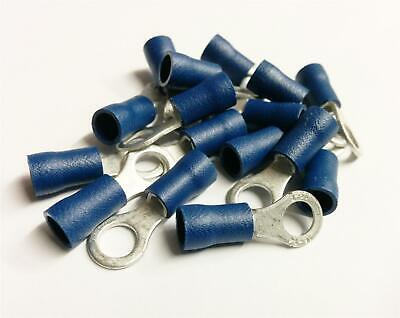 50x Blue Ring Crimp Terminal Insulated Connector Electrical Car Audio Wiring