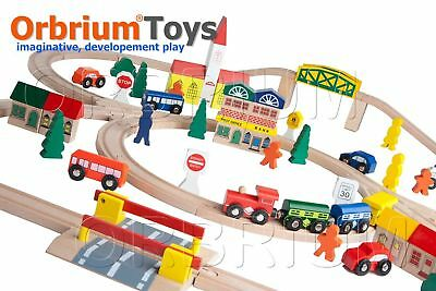 Orbrium Toys; Triple-Loop Wooden Train Set Fits Thomas Brio Railway System