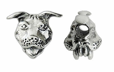 Sterling Silver Pit Bull Bead (Horizontal Hole)
