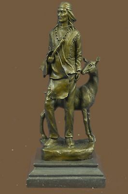 Native American Indian Man  Deer Signed Original Bronze Art Sculpture Statue