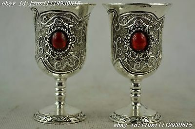 Handwork Miao Silver Carving Pattern Inlay Red Bead Wine Cup