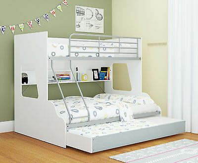 Single Over Double Trio Bunk Bed with shelves & trundle/storage - White & Silver