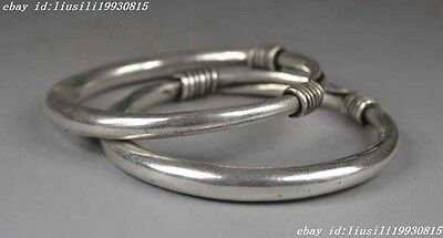 Collectible Decorated Old Handwork Miao Silver Lucky Adjust Bracelet Bangle