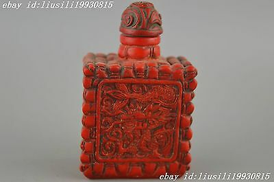 China Decorated Wonderful Coral Carve Flying Dragon & Bamboo Lucky Snuff Bottle
