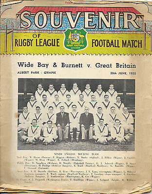 1950 - Wide Bay & Burnett v Great Britain - Touring Match Programme.