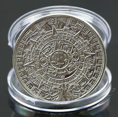 Aztec Mayan Calendar Souvenir Silver Plated Commemorative Coin Collection Gift