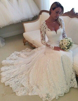 New Lace White/Ivory Bridal Wedding Ball gown Size 6-8-10-12-14-16 Custom