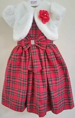 Baby Girls Tartan Dress Christening Red Velvet Party Wedding Pageant Dress Set