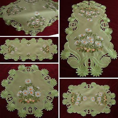 Green Table runner Tablecloth Doily White Marguerite Daisy Flower Embroidery NEW