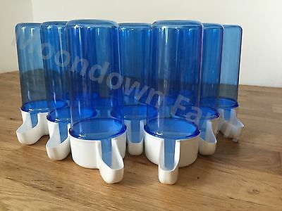 12 x Blue Drinker 200cc Bird Cage Front Anti Algae Finches Canary Budgies etc