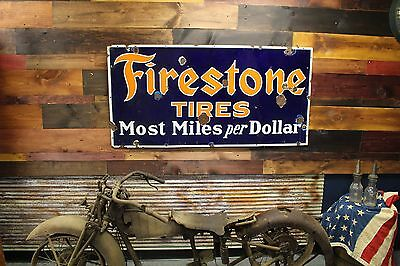 Original Firestone Tires Porcelain Gas Oil Sign