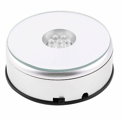 7 LED Light Stand Turntable Rotating Base for Display Crystals Glass D8