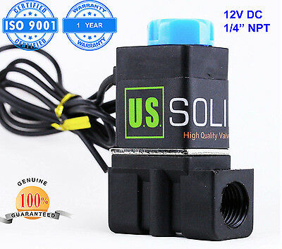 "1/4"" Solenoid Valve Normally Closed 12V DC Nylon Blue Cap Air Water"