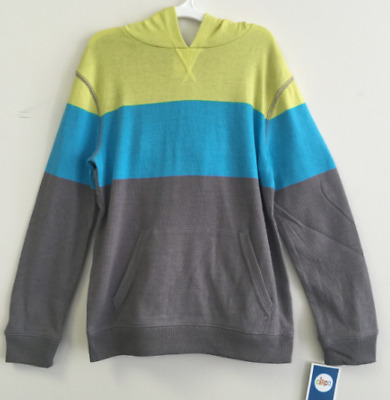 NEW, Circo Boy's Knit Color Block Hoodie Pullover Sweatshirt Yellow Green/Blue