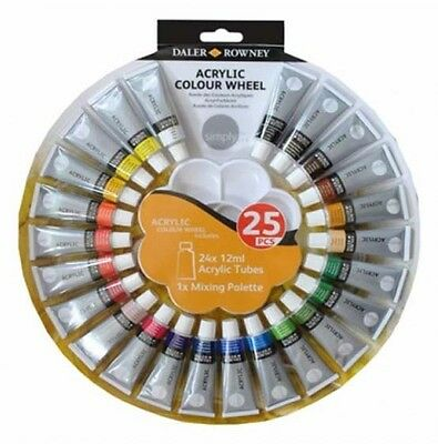 Daler Rowney Simply Acrylic Colour Wheel Set 24 x 12ml Tubes & Mixing Palette