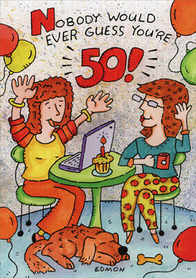 Women Using Laptop - Funny 50th Birthday Card - Greeting Card by Oatmeal Studios