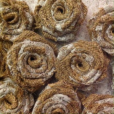 Hessian Lace Roses Handmade Wedding Table Decorations Vintage Shabby Chic x 10