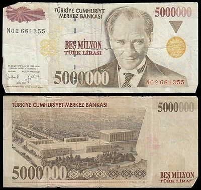 Turkey 5,000,000 (5000000) Five Million Lira, 1997, P-210, Circulated, Used