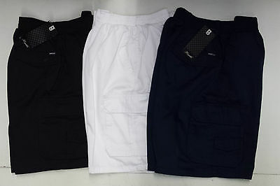 100% Cotton Cargo Shorts Elastic Waist band
