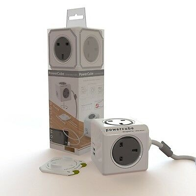 Allocacoc PowerCube Extender Lead 3 Metre with 4 Power Socket and 2 USB Ports