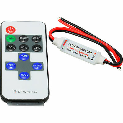 12V Mini Controller Inline Dimmer with RF Wireless Remote for LED Strip Light EA