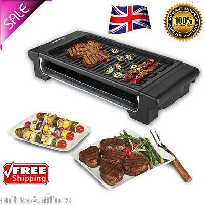 Electric BBQ Teppanyaki Table Top Grill Griddle Barbecue Skillet Hot Plate 1400W