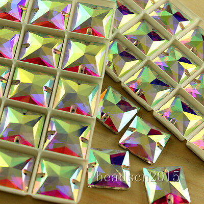 50 clear AB square faceted flatback crystal glass sew on rhinestones stones Y-pk