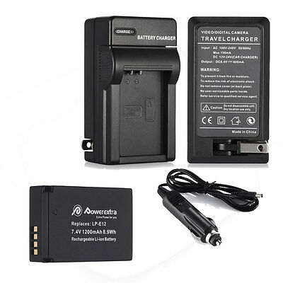 New 1200mAh LP-E12 Battery + Charger for Canon EOS M 100D Rebel SL1 SLR Camera