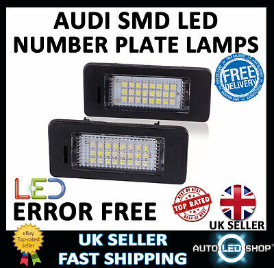 Audi A4 B8 Smd Led Number Plate Lamps Upgrade Light Bulbs Xenon White Canbus