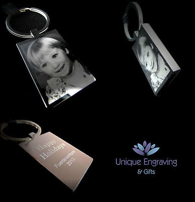 Metal Personalised Photo Engraved Rectangle Keyring - Ideal Christmas Gift!