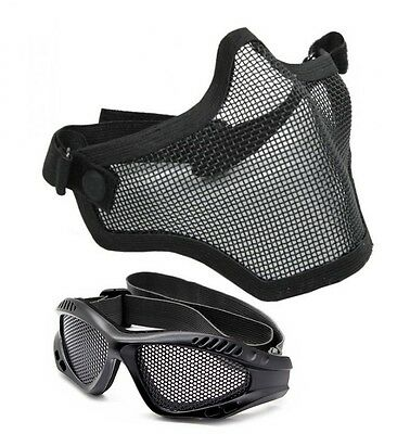 Airsoft Black Wire Mesh Mask and Goggles Full Face Protection Glasses Skirmish