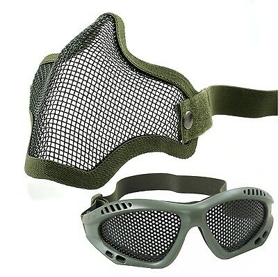 Airsoft Green Wire Mesh Mask and Goggles Full Face Protection Glasses Skirmish