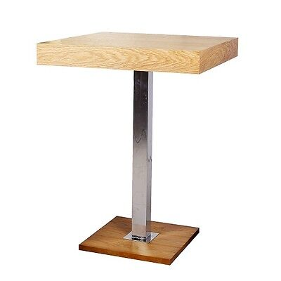 Topaz Bar Table Square In Oak And Stainless Steel Support